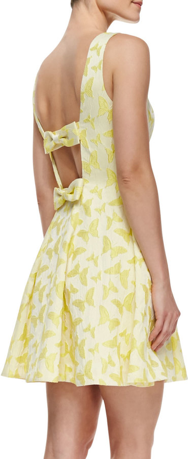 Erin Fetherston ERIN Veronica Cutout Back Butterfly-Print Cocktail Dress