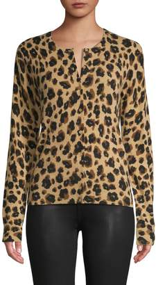 Lord & Taylor Cashmere Leopard-Print Cardigan