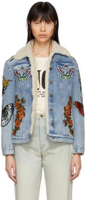 Gucci Blue Shearling LAveugle Par Amour Denim Jacket