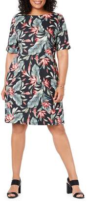 Karen Scott Plus Floral-Print Cotton Blend Sheath Dress