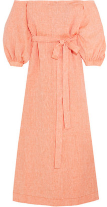 Lisa Marie Fernandez - Off-the-shoulder Linen Maxi Dress - Peach $775 thestylecure.com