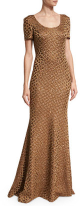St. John Collection Panthera Sequined Short-Sleeve Mermaid Gown, Bronze $2,395 thestylecure.com