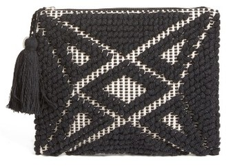 Sole Society Palisades Tasseled Woven Clutch - Black $54.95 thestylecure.com