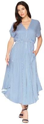 Hale Bob Toe the Line Rayon Twill Flutter Stripe Maxi Women's Dress