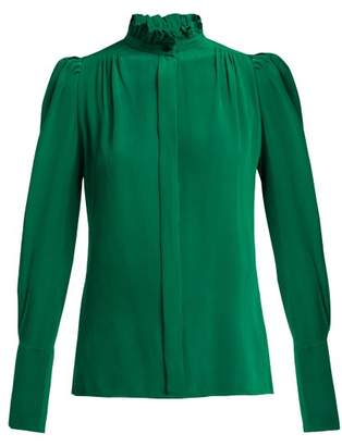 Isabel Marant - Lamia Ruffle Trim Silk Blouse - Womens - Dark Green