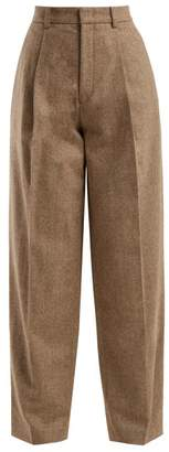 Joseph Riska Herringbone Wool Blend Trousers - Womens - Beige