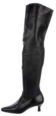 Manolo Blahnik Leather Over-The-Knee Boots