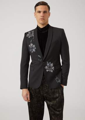 Emporio Armani Single-Breasted Jacket In Tropical Wool With Embroidered Flowers