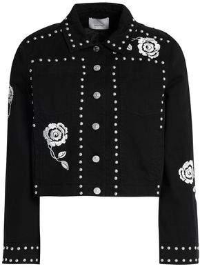 Cinq à Sept Studded Embroidered Denim Jacket