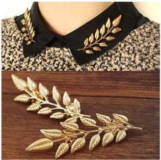 MINGHUA Gentlemen Suit Brooches Simple Elegant Double Leaf Collar Pin Brooch Silver Plant Brooch
