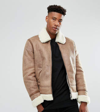 Asos TALL Faux Shearling Jacket in Camel