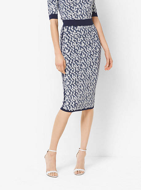 Michael Kors Floral-Embroidered Stretch-Viscose Pencil Skirt