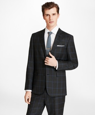 Brooks Brothers Windowpane Two-Button Wool Suit Jacket