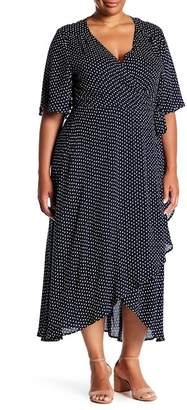 Bobeau Orna Polka Dot Wrap Maxi Dress (Plus Size)