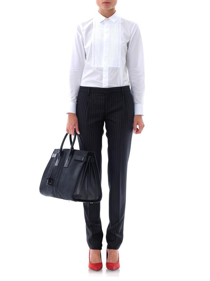 Saint Laurent Pinstripe tailored wool trousers