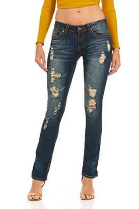 Cover Girl Women's Tall Plus Size Distressed Boot-Cut Straight Leg