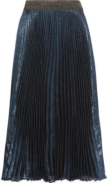 Christopher KaneChristopher Kane - Pleated Silk-blend Lamé Midi Skirt - Storm blue