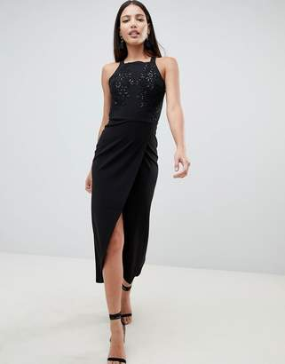AX Paris Wrap Front Sqaure Neck Maxi Dress With Sequin Detail