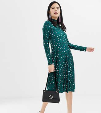 f30ddeb8966b Monki high neck dot print midi dress in green