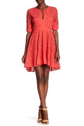 BCBGMAXAZRIA Long Sleeve Eyelet Knit Dress