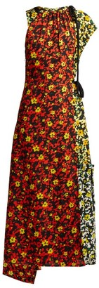 Proenza Schouler Floral Asymmetric Midi Dress - Womens - Orange Multi