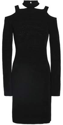Roberto Cavalli Cold-Shoulder Cutout Knitted Mini Dress