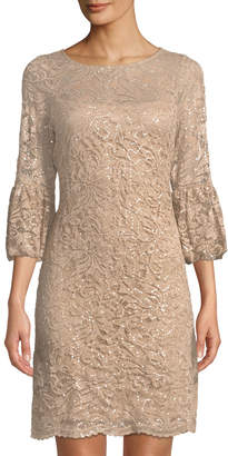 Neiman Marcus Bell-Sleeve Body-Con Sequined Lace Dress