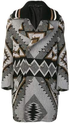 Diesel Black Gold navajo pattern midi coat
