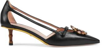 Gucci Leather pump with crystal Double G