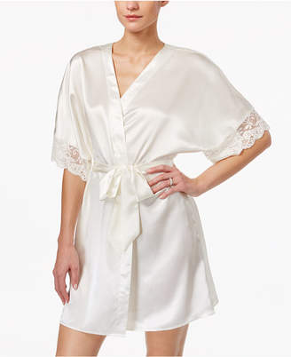Flora Nikrooz Flora by Emma Lace-Trimmed Charmeuse Wrap Robe