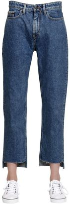 Mid Rise Straight Step Hem Denim Jeans $173 thestylecure.com