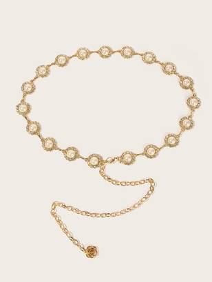 7bc053159b Shein Rhinestone Detail Faux Pearl Embellished Chain Belt