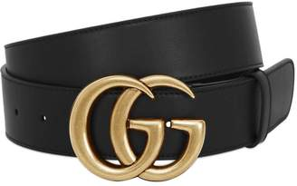 Gucci 40mm Gg Gold Buckle Leather Belt
