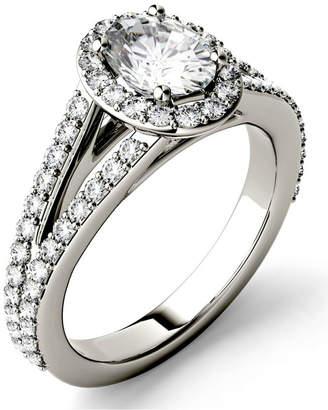 Charles & Colvard Moissanite Split Shank Oval Halo Ring (1-1/2 ct. tw.) in 14k White Gold