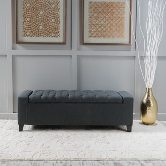 Noble House Hannah Dark Grey Fabric Storage Ottoman