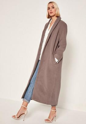 Brown Shawl Collar Faux Wool Maxi Coat $132 thestylecure.com