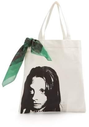 Calvin Klein 205w39nyc - Face Print Canvas Tote Bag - Mens - White Black