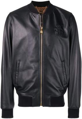 Billionaire logo embossed bomber jacket