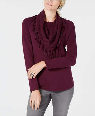 Style&Co. Style & Co Fringe-Trimmed Cowl-Neck Sweater