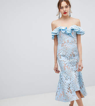 Jarlo Tall Frill Cutwork Lace Off Shoulder Stepped Hem Midi Dress