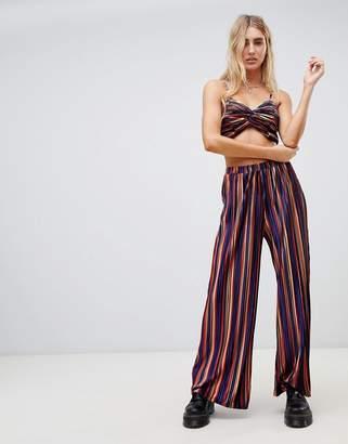 Wild Honey wide leg pants in plisse stripe two-piece