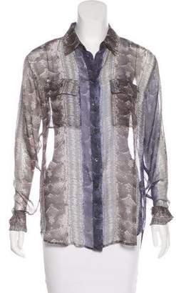 Equipment Silk Snakeskin Print Blouse