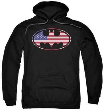 Batman American Flag Oval Mens Pullover Hoodie