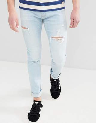 Hollister Skinny Distressed Ripped Jeans in Light Wash