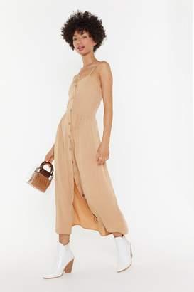 Nasty Gal Womens Button Through Cotton Midi Dress - Beige - L, Beige