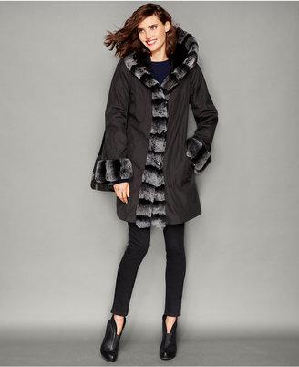 The Fur Vault Rabbit-Fur-Trim Hooded Reversible Coat $1,795 thestylecure.com
