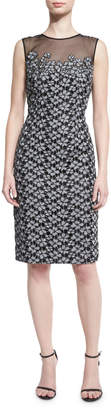 Carmen Marc Valvo Floral-Embroidered Lace Cocktail Dress, Black/Silver