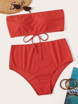 Shein Plus Lace-up Bandeau Top With High Waist Bikini