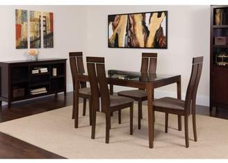 Flash Furniture Montclair 5 Piece Espresso Wood Dining Table Set with Glass Top and Clean Line Wood Dining Chairs - Padded Seats
