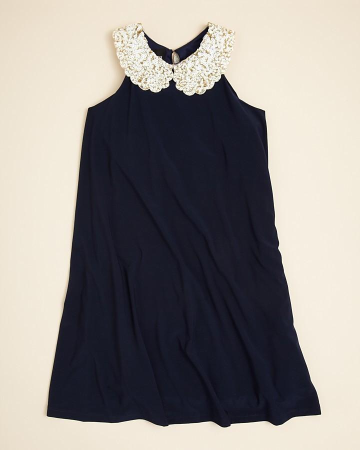 Un Deux Trois Girls' Sequin Collar Dress - Sizes 7-16
